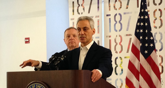 1871 hosts press conference for Digital Manufacturing and Design Innovation Institute award to Chicago with Mayor Emanuel and Senator Durbin.
