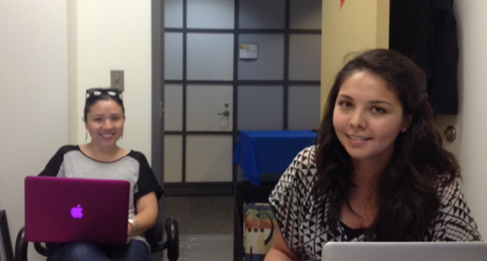 GCI summer additions, Xiomarra Pedraza and Sara Agate, meet with Teresa Córdova to discuss GCI initiatives.