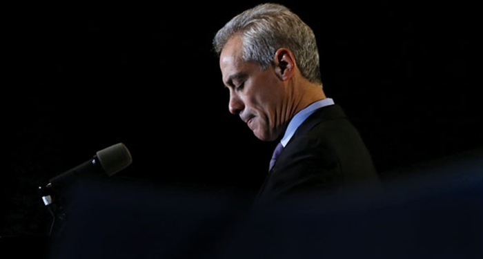 "Chicago Mayor Rahm Emanuel pauses as he speaks to supporters after he was unable to win a majority vote in the city's Feb. 24 mayoral election. He now faces Jesus ""Chuy"" Garcia, a candidate backed by the Chicago Teachers Union, in an April runoff. —Charles Rex Arbogast/AP"