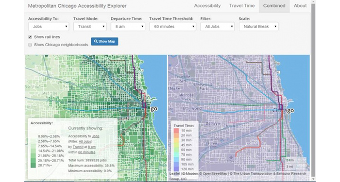 Urban Accessibility Explorer Maps Show Travel Time By Mode