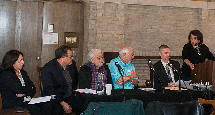 From the left: Alice Cepeda, Avelardo Valdez, Diego Vigil, John Hagedorn, Robert Durán, and GCI Director Teresa Córdova engage in discussion.