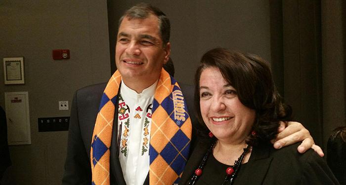 GCI Director Teresa Córdova with Ecuador's President Correa.