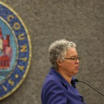 Cook County President Toni Preckwinkle presides over the County Board meeting on Wednesday Jan., 13, 2016. The County Board approved a measure that incentivizes local companies to hire area teens. (Abel Uribe / Chicago Tribune)