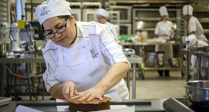 Susana Palomo works during class Thursday, Feb. 2, 2017 at the French Pastry School. (Brian Cassella / Chicago Tribune)